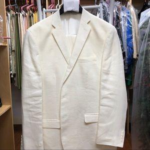 Calvin Klein white 100% linen men's suit